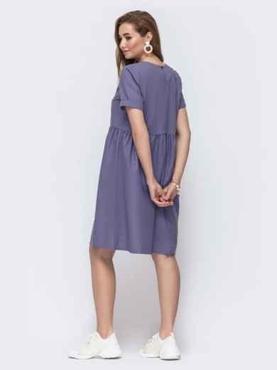 Платье из льна с вышивской на полочке фиолетовое 48161, фото 2