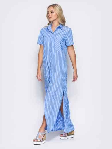 Платье-рубашка с функциональными пуговицами и карманом голубое - 11324, фото 3 – интернет-магазин Dressa