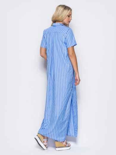 Платье-рубашка с функциональными пуговицами и карманом голубое - 11324, фото 4 – интернет-магазин Dressa