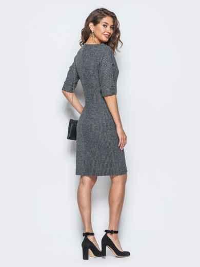 """Платье серого цвета в принт """"мелкую ёлочку"""" - 17957, фото 2 – интернет-магазин Dressa"""