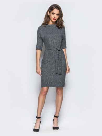"""Платье серого цвета в принт """"мелкую ёлочку"""" - 17957, фото 3 – интернет-магазин Dressa"""