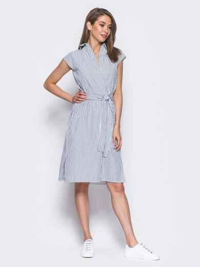 Платье в черную полоску с разрезами по бокам - 11343, фото 2 – интернет-магазин Dressa