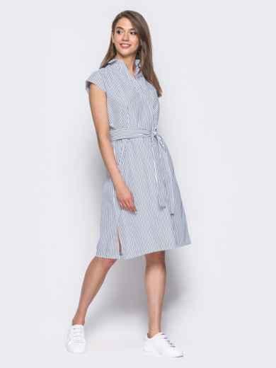 Платье в черную полоску с разрезами по бокам - 11343, фото 3 – интернет-магазин Dressa