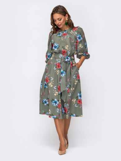 Расклешенное платье-миди с цветочным принтом хаки 50139, фото 2