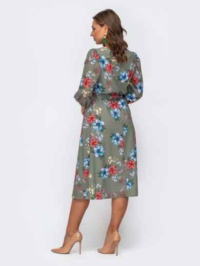 Расклешенное платье-миди с цветочным принтом хаки 50139, фото 3