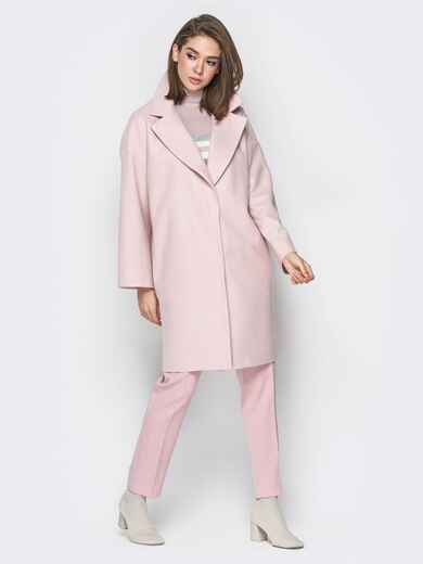 Розовое пальто oversize с боковыми карманами в швах - 20096, фото 1 – интернет-магазин Dressa