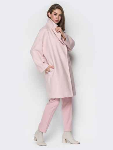 Розовое пальто oversize с боковыми карманами в швах - 20096, фото 2 – интернет-магазин Dressa