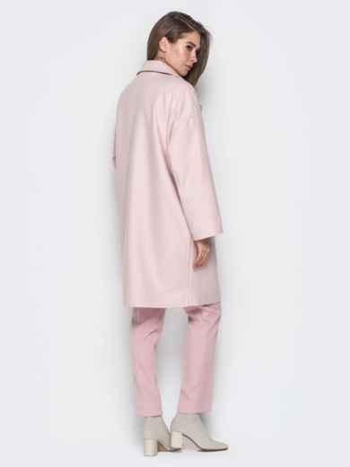 Розовое пальто oversize с боковыми карманами в швах - 20096, фото 3 – интернет-магазин Dressa