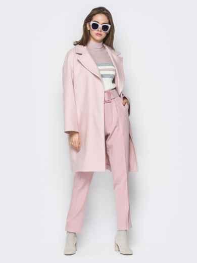 Розовое пальто oversize с боковыми карманами в швах - 20096, фото 4 – интернет-магазин Dressa