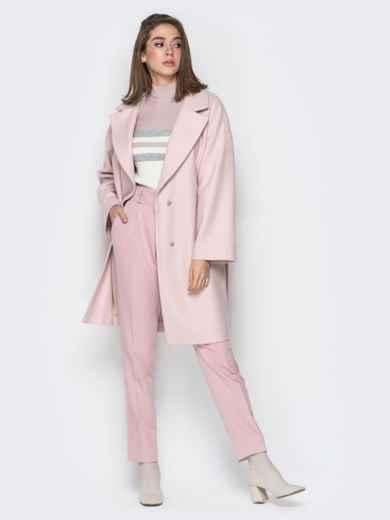 Розовое пальто oversize с боковыми карманами в швах - 20096, фото 5 – интернет-магазин Dressa