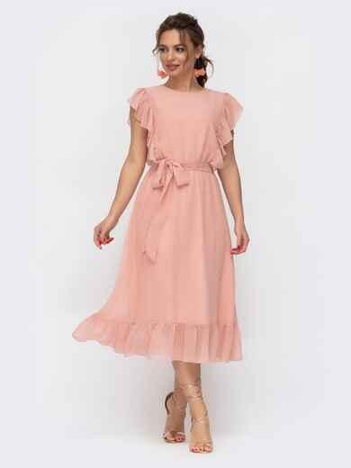 Шифоновое платье с расклешенной юбкой пудровое 46683, фото 1
