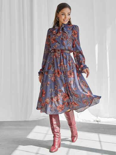 Синее платье с принтом и воротником-аскот 50146, фото 2