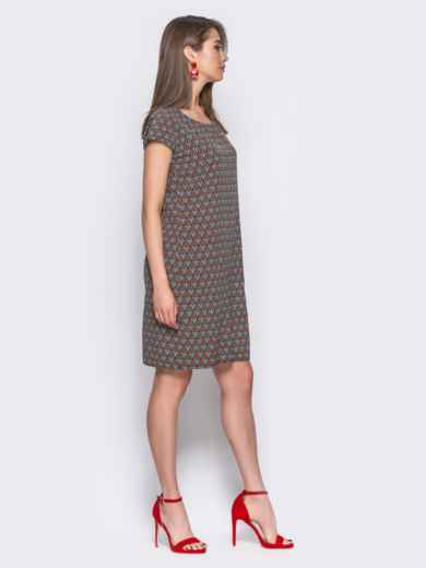 Тёмно-синее платье свободного кроя с оригинальным принтом - 11333, фото 3 – интернет-магазин Dressa