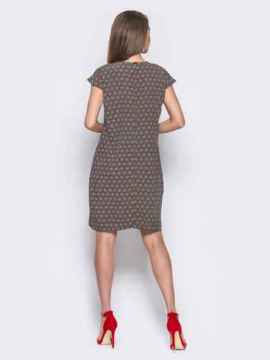 Тёмно-синее платье свободного кроя с оригинальным принтом - 11333, фото 4 – интернет-магазин Dressa