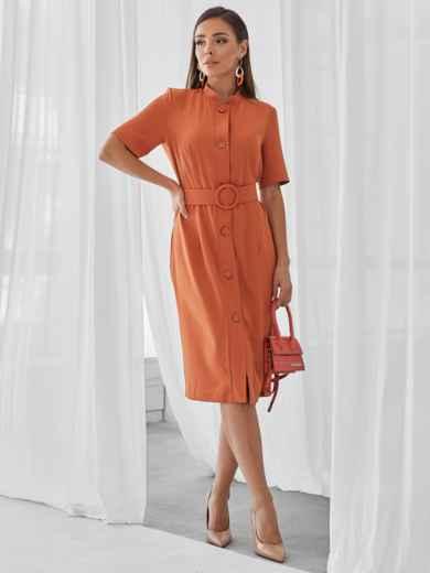 Терракотовое платье-рубашка приталенного кроя с воротником-стойкой 50143, фото 2