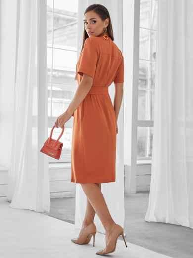 Терракотовое платье-рубашка приталенного кроя с воротником-стойкой 50143, фото 3