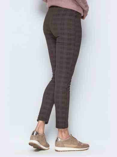 Укороченные лосины коричневого цвета с функциональной молнией - 17734, фото 2 – интернет-магазин Dressa