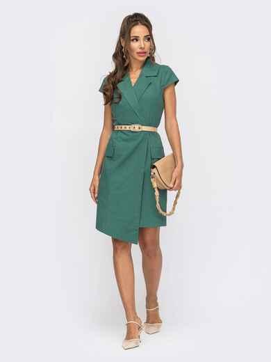 Зеленое платье-пиджак с асимметричным низом 53870, фото 1