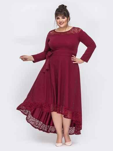 Бордовое платье батал с люрексом и удлиненной спинкой 43889, фото 1