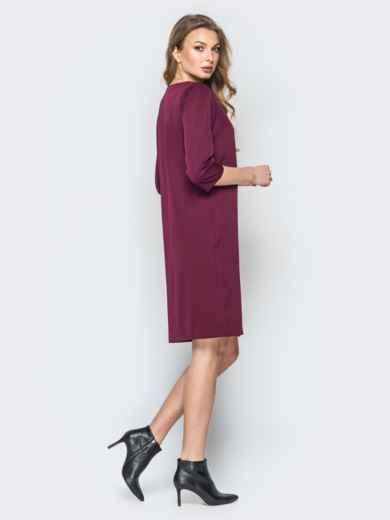 Бордовое платье свободного кроя с украшением в комплекте - 19543, фото 2 – интернет-магазин Dressa