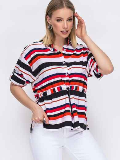 Красная блузка в полоску с кулиской по талии 45578, фото 1