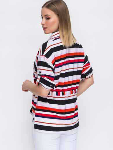 Красная блузка в полоску с кулиской по талии 45578, фото 3