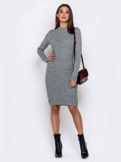 Обтягивающее платье с ажурной вязкой серое 41066, фото 1