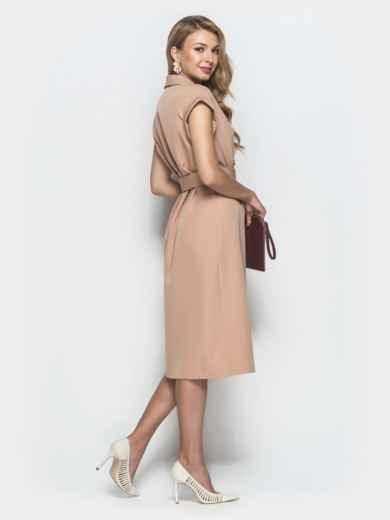 Платье-пиджак бежевого цвета с поясом - 40007, фото 2 – интернет-магазин Dressa