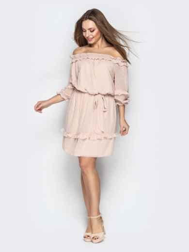 """Платье с вырезом """"анжелика"""" и объемным рукавом пудровое - 21102, фото 2 – интернет-магазин Dressa"""
