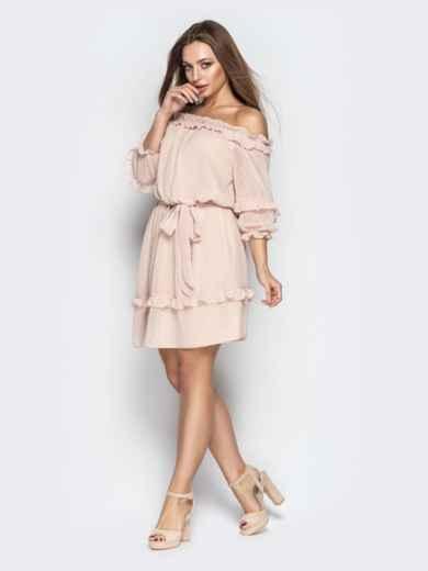 """Платье с вырезом """"анжелика"""" и объемным рукавом пудровое - 21102, фото 3 – интернет-магазин Dressa"""