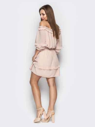 """Платье с вырезом """"анжелика"""" и объемным рукавом пудровое - 21102, фото 4 – интернет-магазин Dressa"""