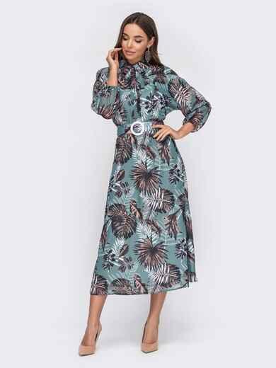 Шифоновое платье в тропический принт с рукавом «летучая мышь» зеленое 53278, фото 1