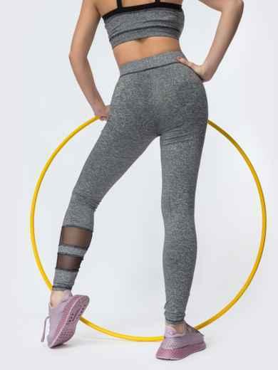 Спортивные лосины со вставками из сетки серые - 44623, фото 3 – интернет-магазин Dressa