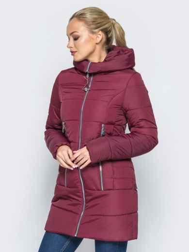 1d03fcd354b4 Зимняя куртка с капюшоном и декоративными кнопками сзади бордовая - 16968,  фото 2 – интернет