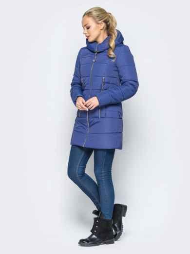 033da5534ecc Зимняя куртка с капюшоном и декоративными кнопками сзади синяя - 16967,  фото 2 – интернет