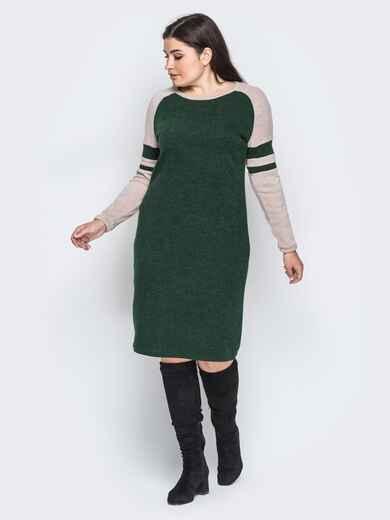 Ангоровое платье с рукавом реглан зелёное - 18366, фото 1 – интернет-магазин Dressa