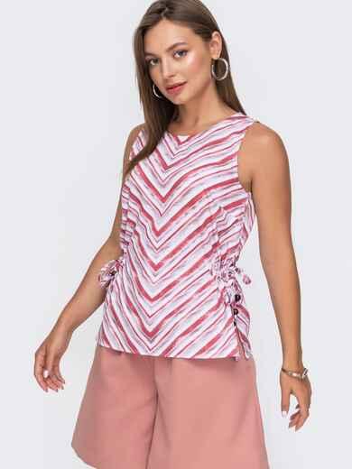 Блузка в полоску с разрезами по бокам красная 49206, фото 1
