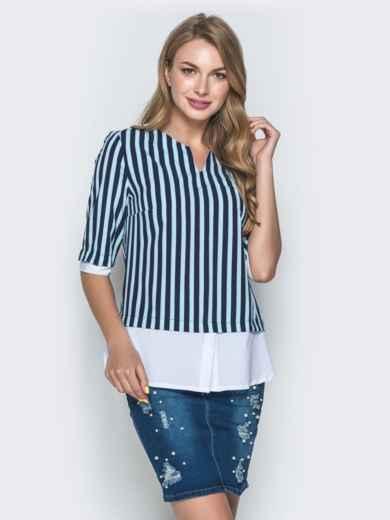 Блузка в зеленую полоску с контрастными вставками - 38530, фото 1 – интернет-магазин Dressa