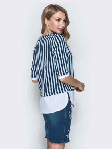Блузка в зеленую полоску с контрастными вставками - 38530, фото 2 – интернет-магазин Dressa