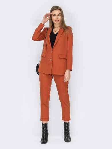 Брючный костюм-тройка с пиджаком и блузкой терракотовый 53154, фото 1