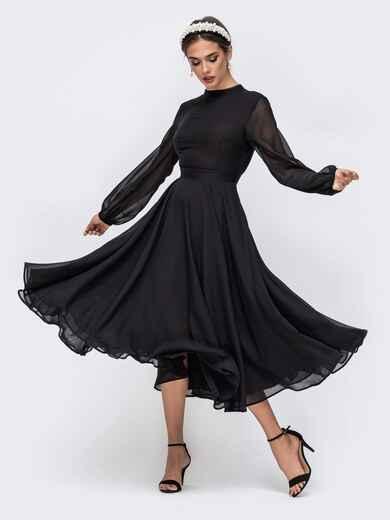 Чёрное платье с открытой спиной и юбкой-солнце 41739, фото 1
