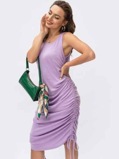 Фиолетовое платье из вискозы с завязками 54404, фото 1