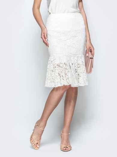 Гипюровая юбка-годе белого цвета 39510, фото 1