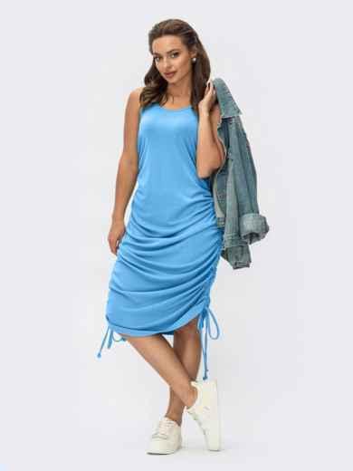 Голубое платье из вискозы с завязками 54403, фото 1