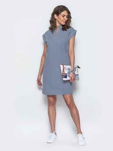 Платье прямого кроя с открытой планкой синее 21775, фото 1