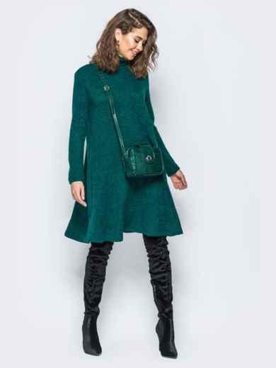 Платье свободного кроя из ангоры зелёное - 17254, фото 3 – интернет-магазин Dressa
