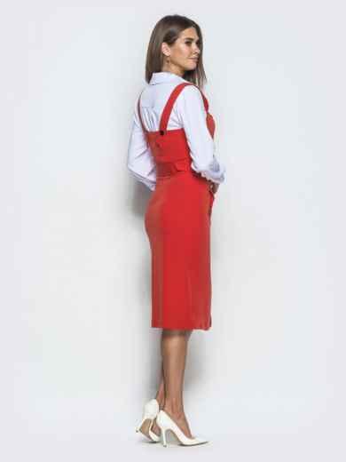 Приталенный сарафан красного цвета на пуговицах 40034, фото 3