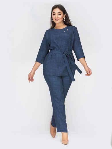 Темно-синий комплект большого размера из кофты и брюк 50046, фото 1