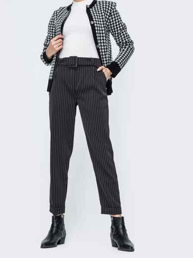 Зауженные брюки в полоску чёрные - 45029, фото 1 – интернет-магазин Dressa