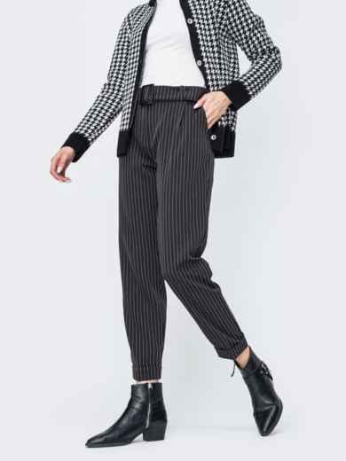Зауженные брюки в полоску чёрные - 45029, фото 2 – интернет-магазин Dressa